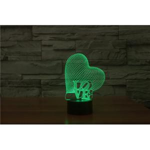 3D Лампа - Сердце Love (Сделать свою надпись)