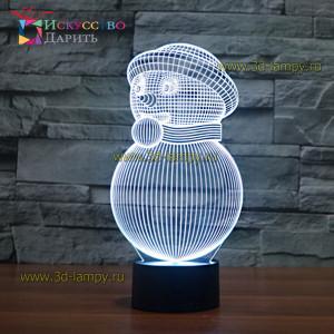 3D Лампа - Снеговик 1