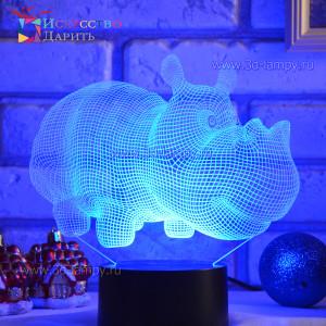 3D Лампа - Бегемот
